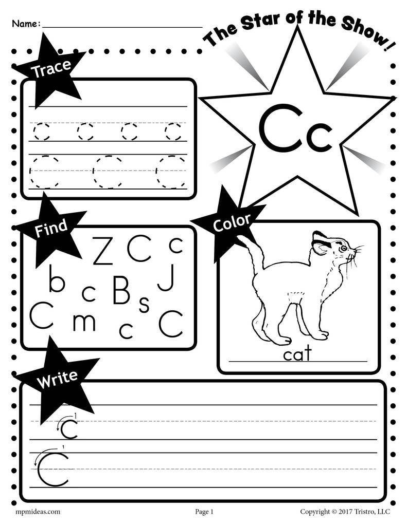 Letter C Worksheet Tracing Coloring Writing & More