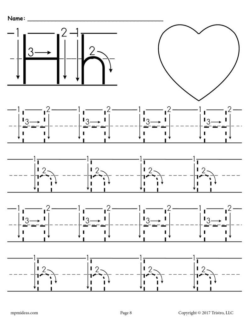 Printable Letter H Tracing Worksheet With Number and Arrow Guides