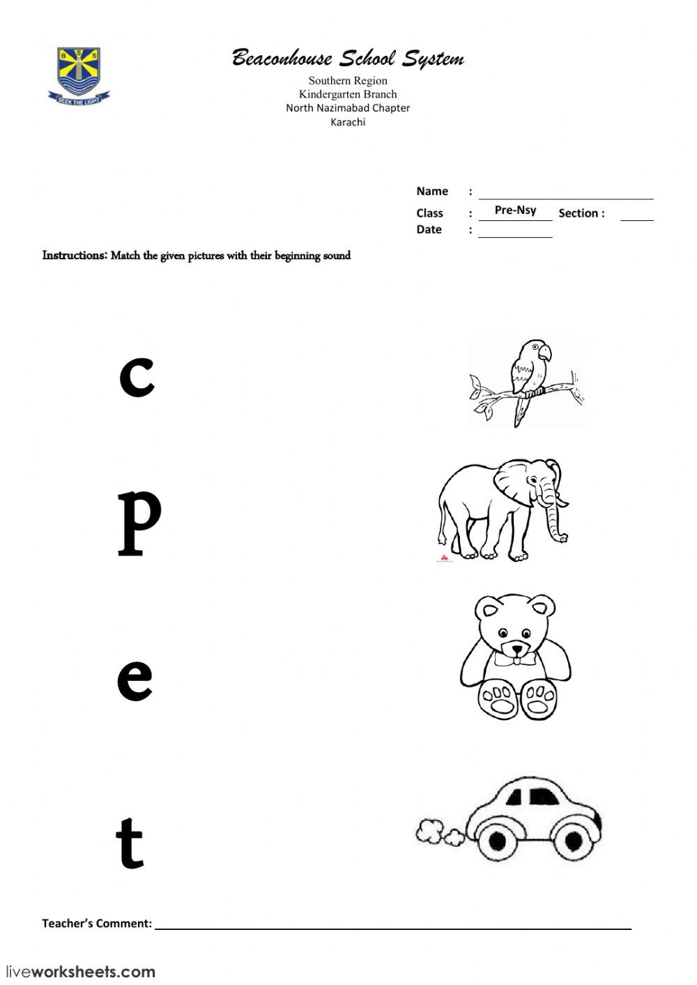match the letter sound with correct pictures worksheet
