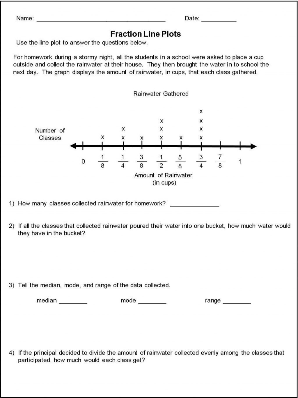 Line Plots Worksheets with Fractions