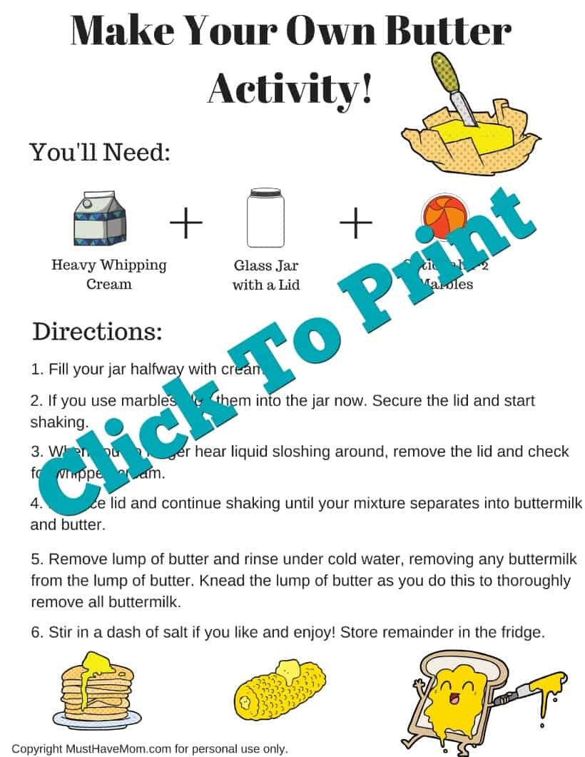 How To Make Butter In A Jar Free Printable Dairy Farming