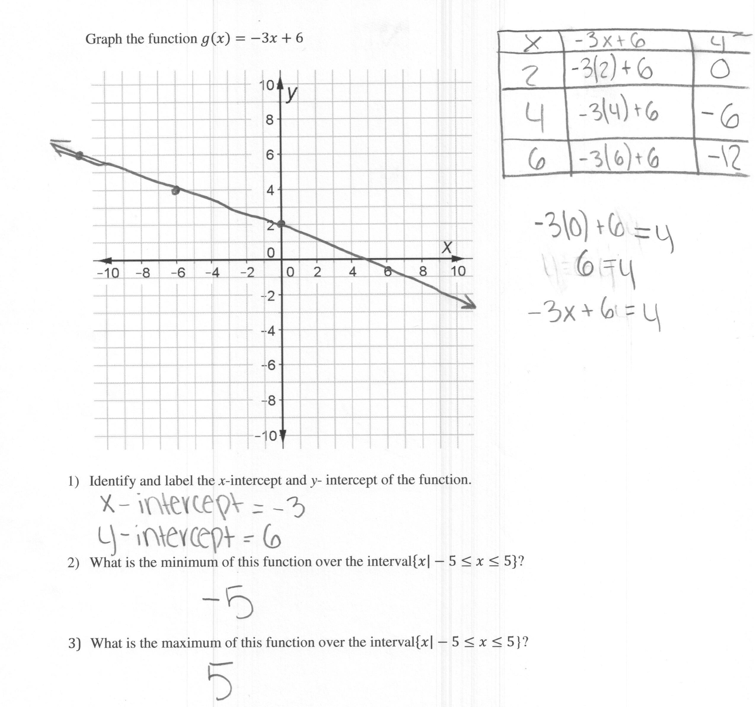 Matching Functions to Graphs Worksheet