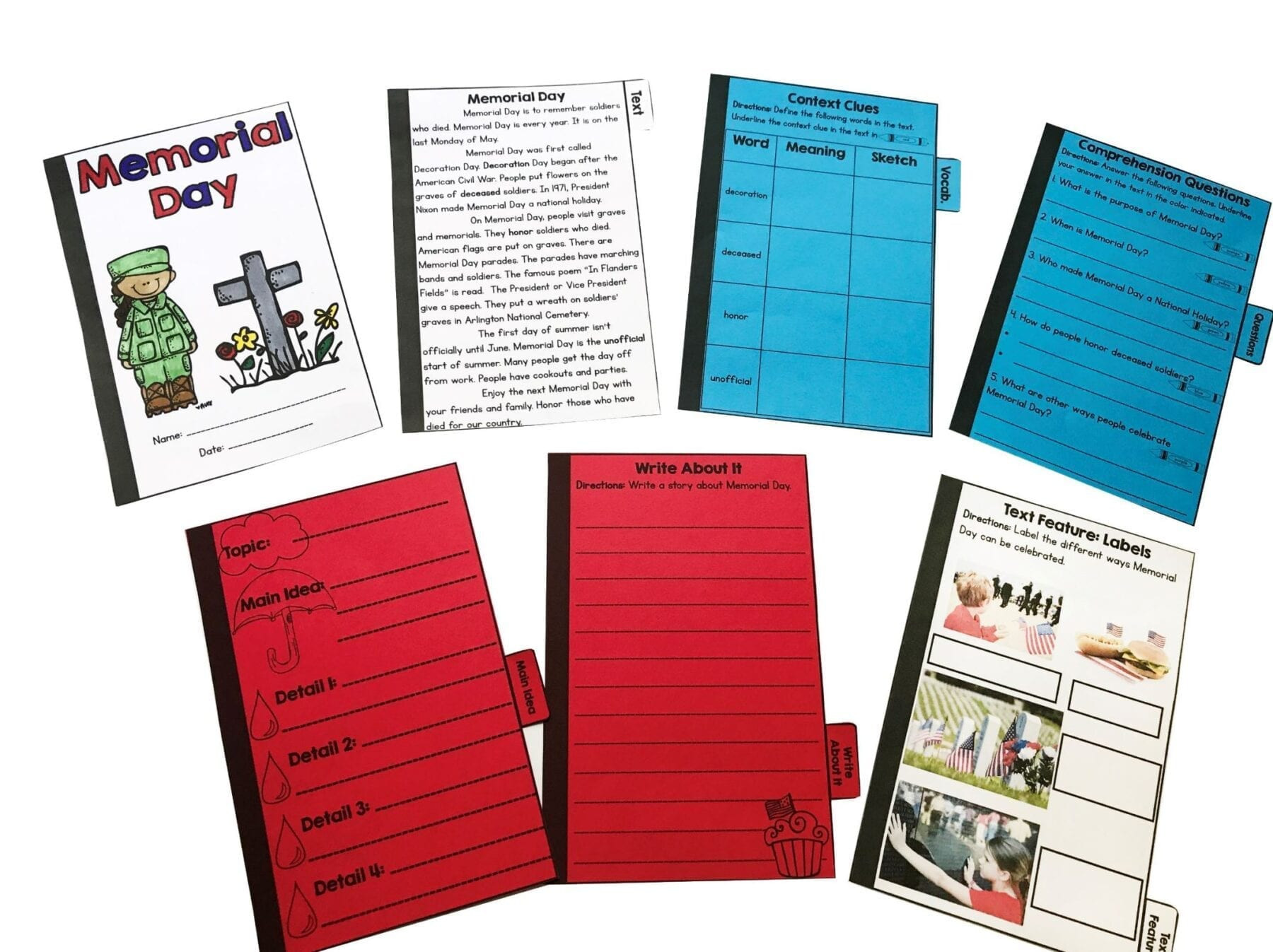 Memorial Day Reading Comprehension Worksheets