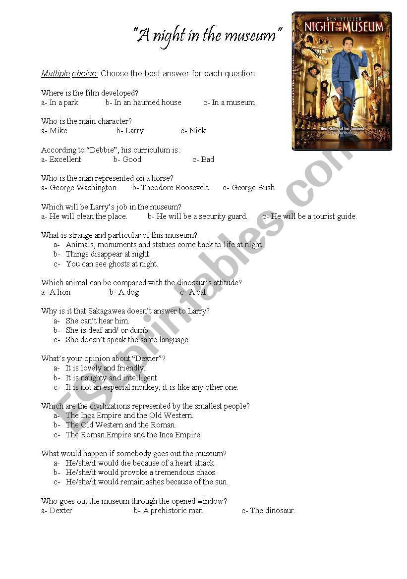 A night at the museum ESL worksheet by sheilacoli