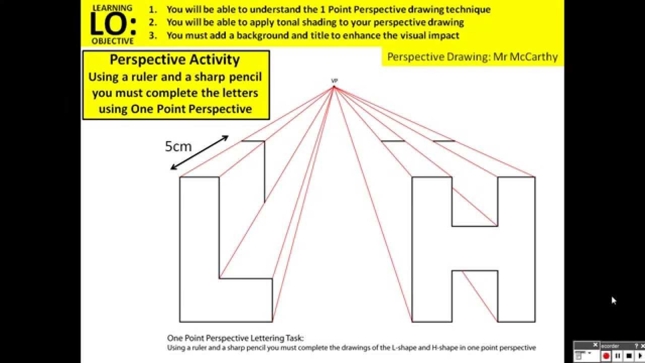 One Point Perspective Letters Worksheet