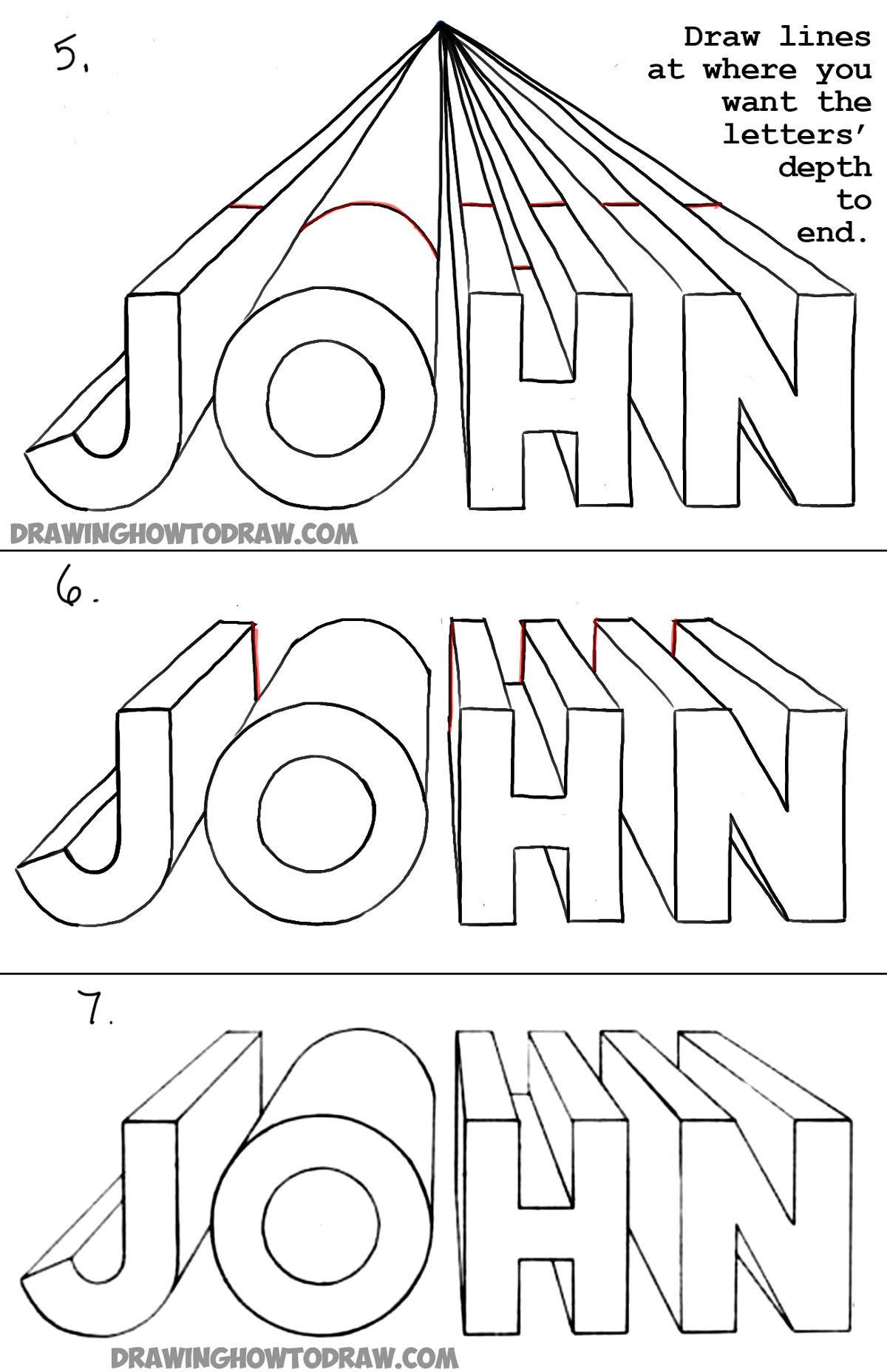 How to Draw 3D Letters in e Point Perspective