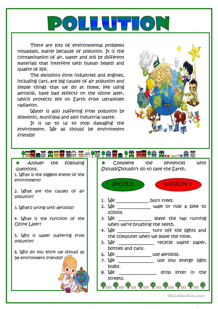 Pollution reading English ESL Worksheets for distance