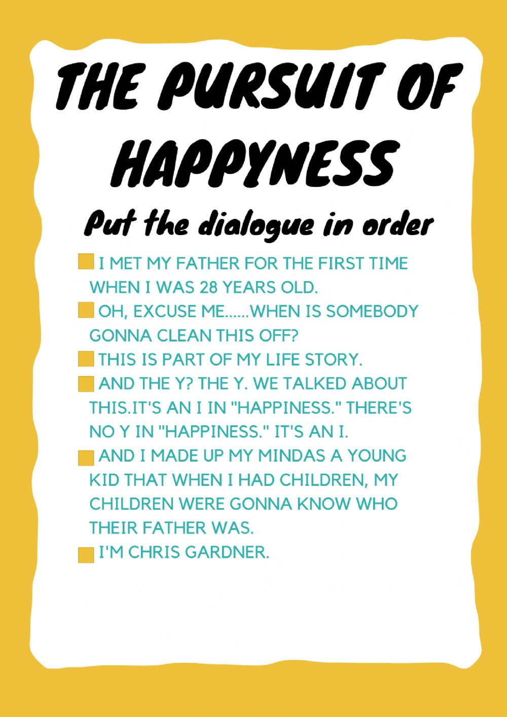 Pursuit Of Happiness Movie Worksheet