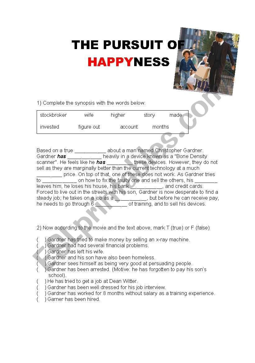 The Pursuit of HappYness movie activity with answers