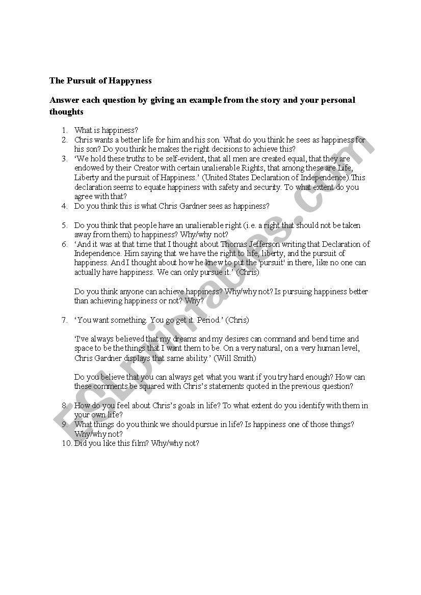 Pursuit Of Happyness Worksheet