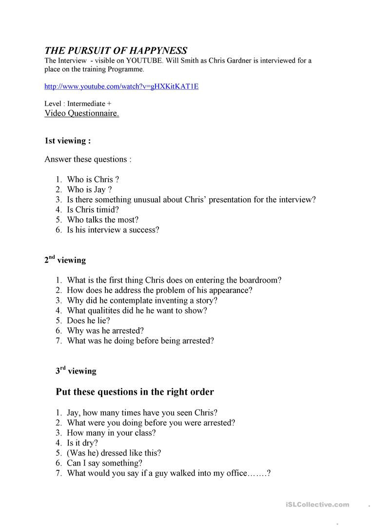 The Pursuit of Happyness English ESL Worksheets for