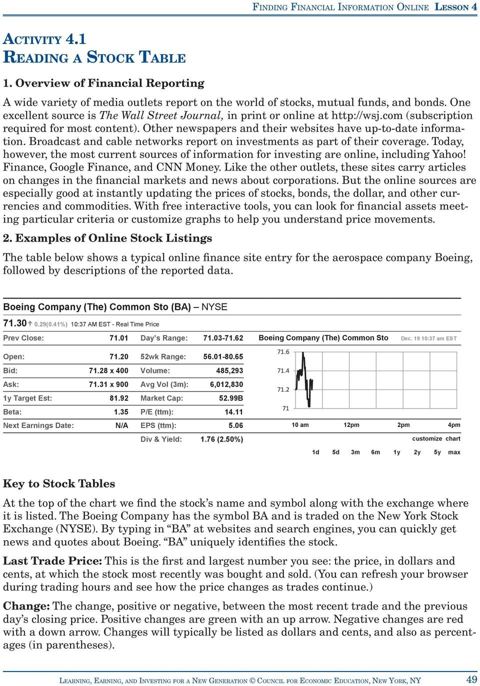 ACTIVITY 4 1 READING A STOCK TABLE PDF Free Download