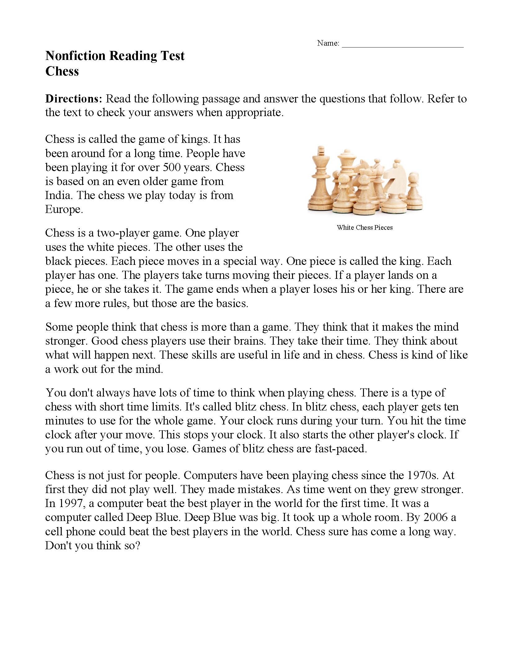 Reading Comprehension Informational Text Worksheets