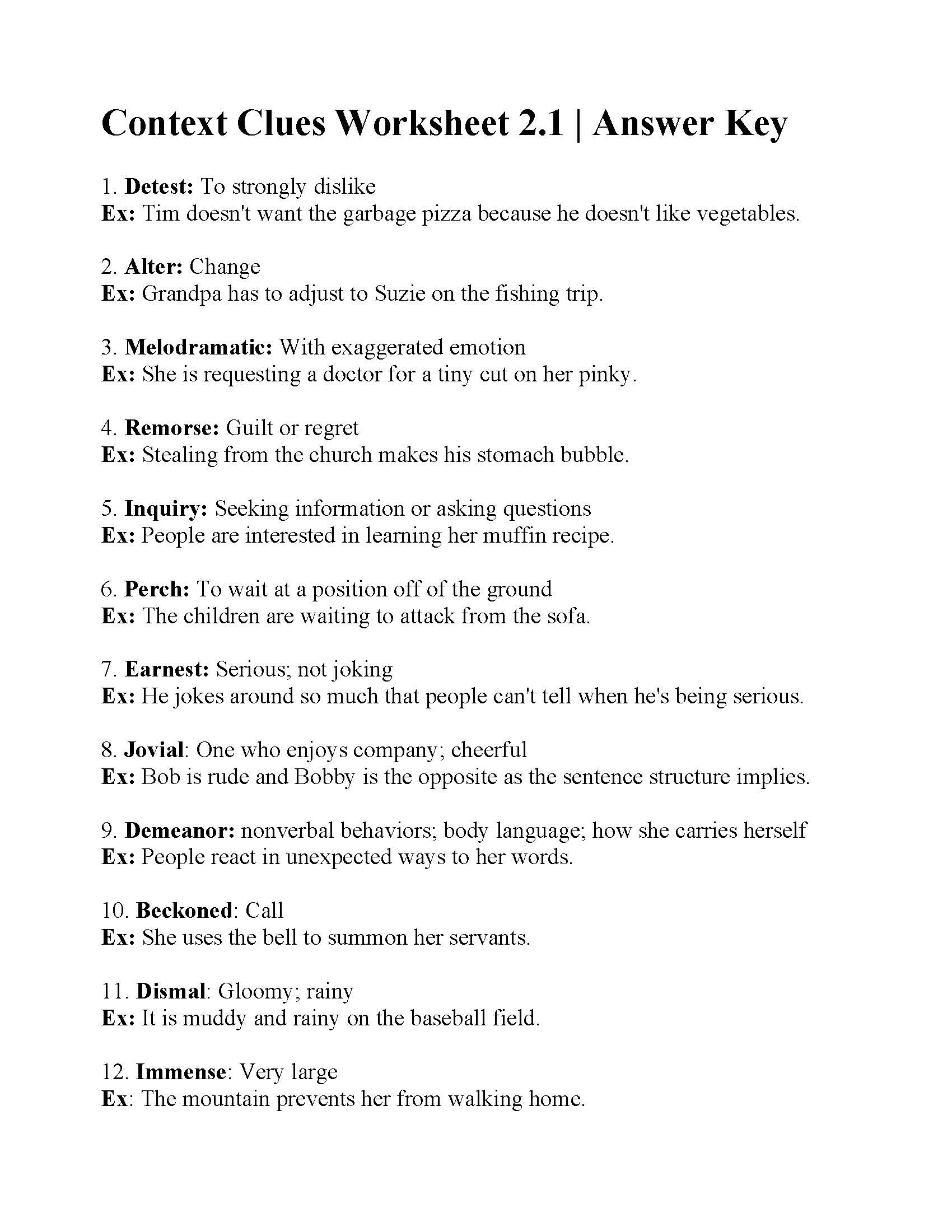 Reading Context Clues Worksheets