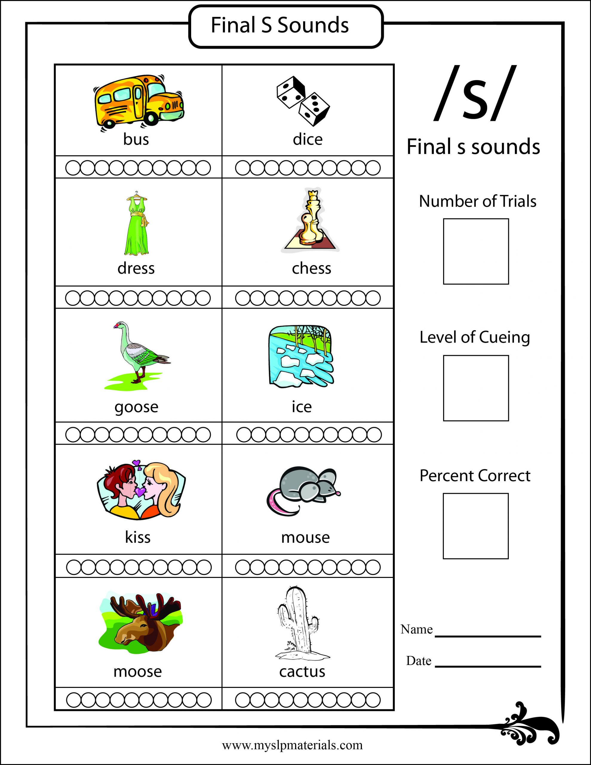 S and Z sounds Worksheets