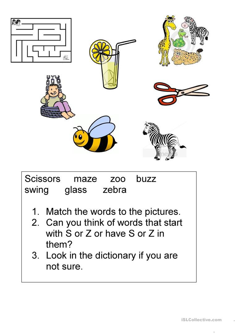 S and Z sounds English ESL Worksheets for distance