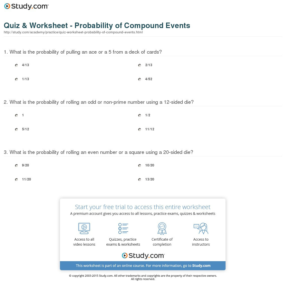 Simple and Compound Probability Worksheet