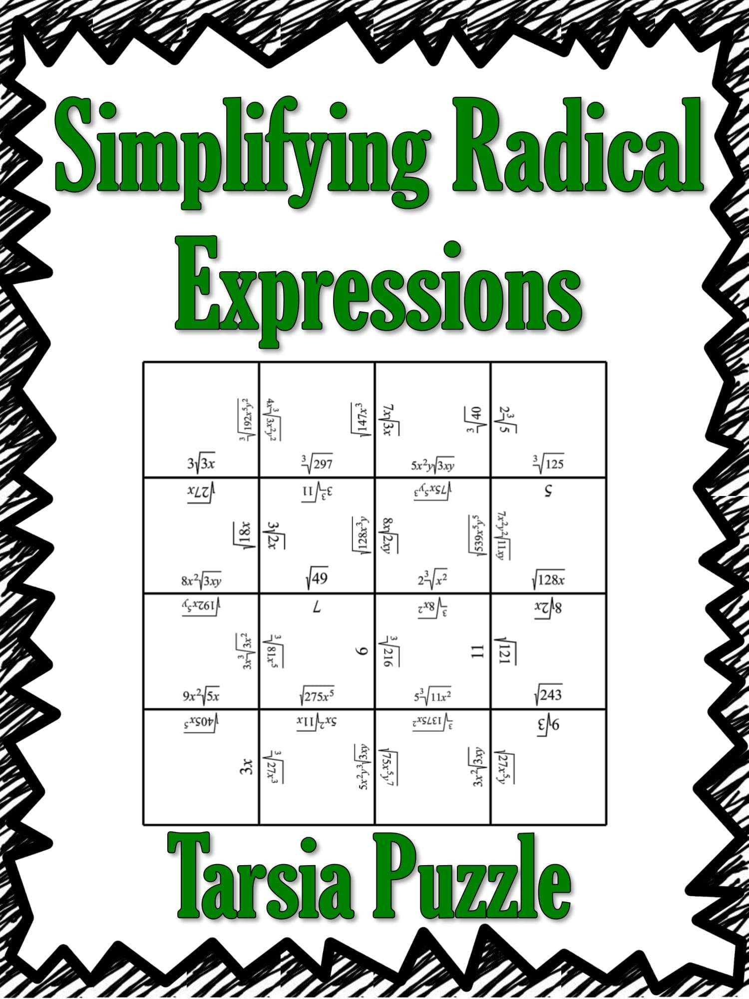 Simplifying Square Roots Worksheet Puzzle