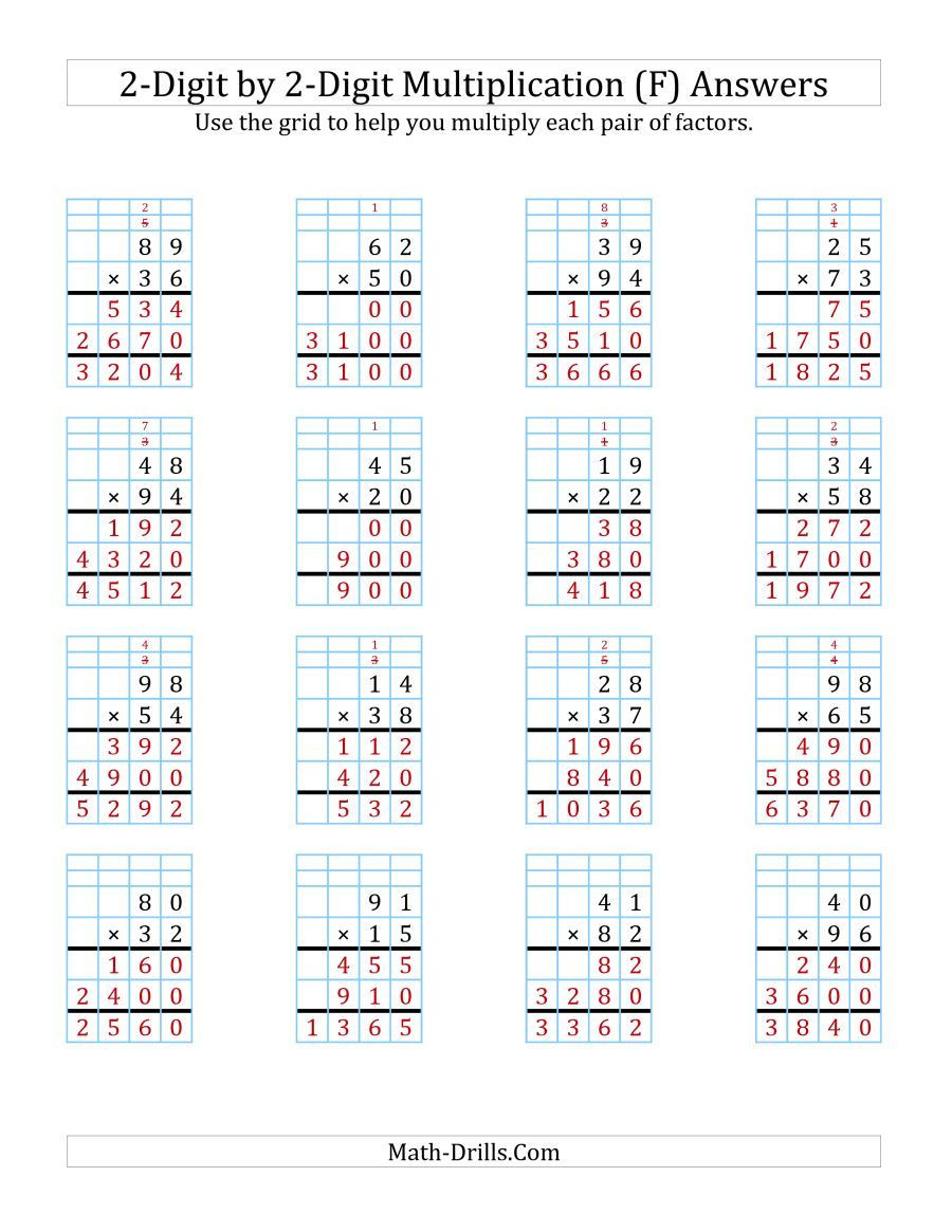 The 2 Digit by 2 Digit Multiplication with Grid Support F