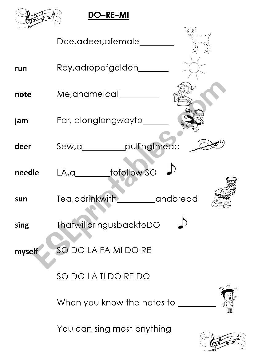 Sound Of Music Worksheets