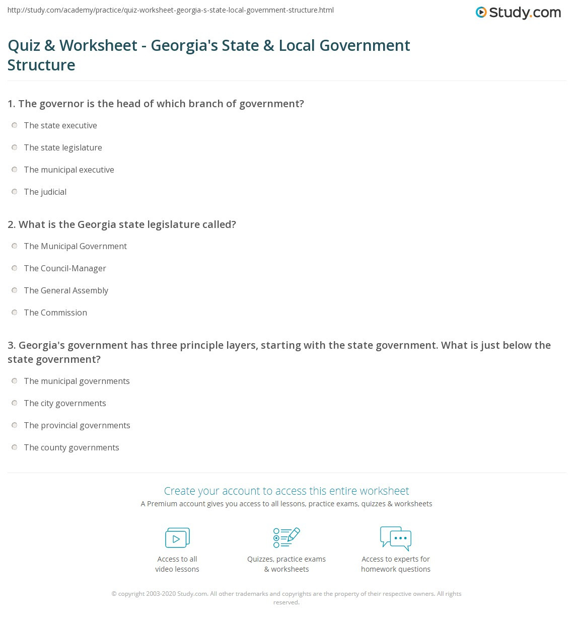 Quiz & Worksheet Georgia s State & Local Government