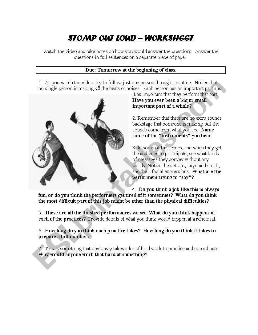 English worksheets Stomp Out Loud