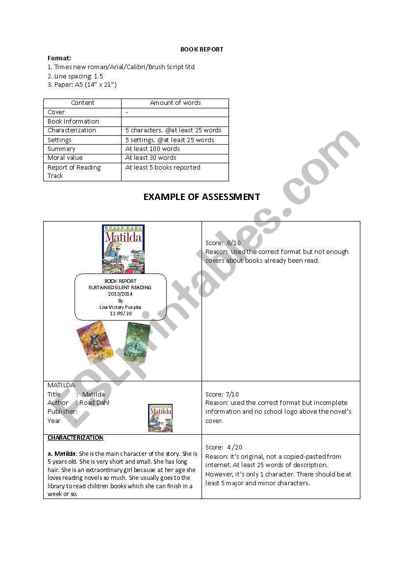 Sustained Silent Reading Worksheet