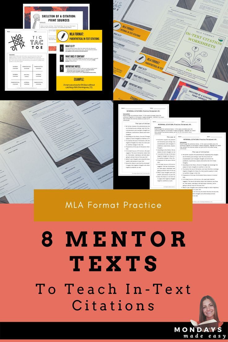 Teaching In Text Citations Worksheet