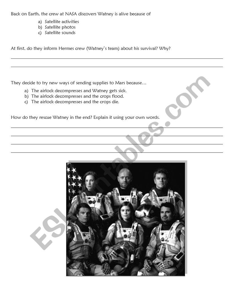 The Martian Movie Questions Worksheet