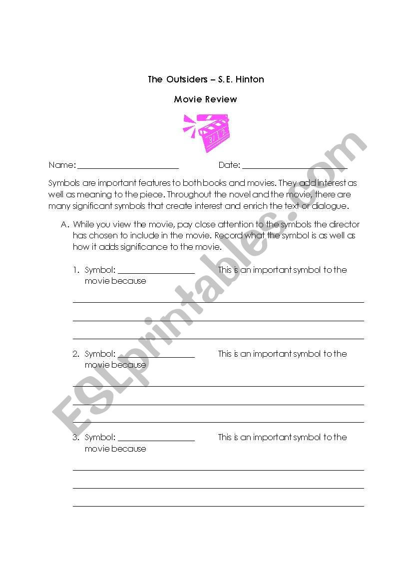 English worksheets The Outsiders Movie Review
