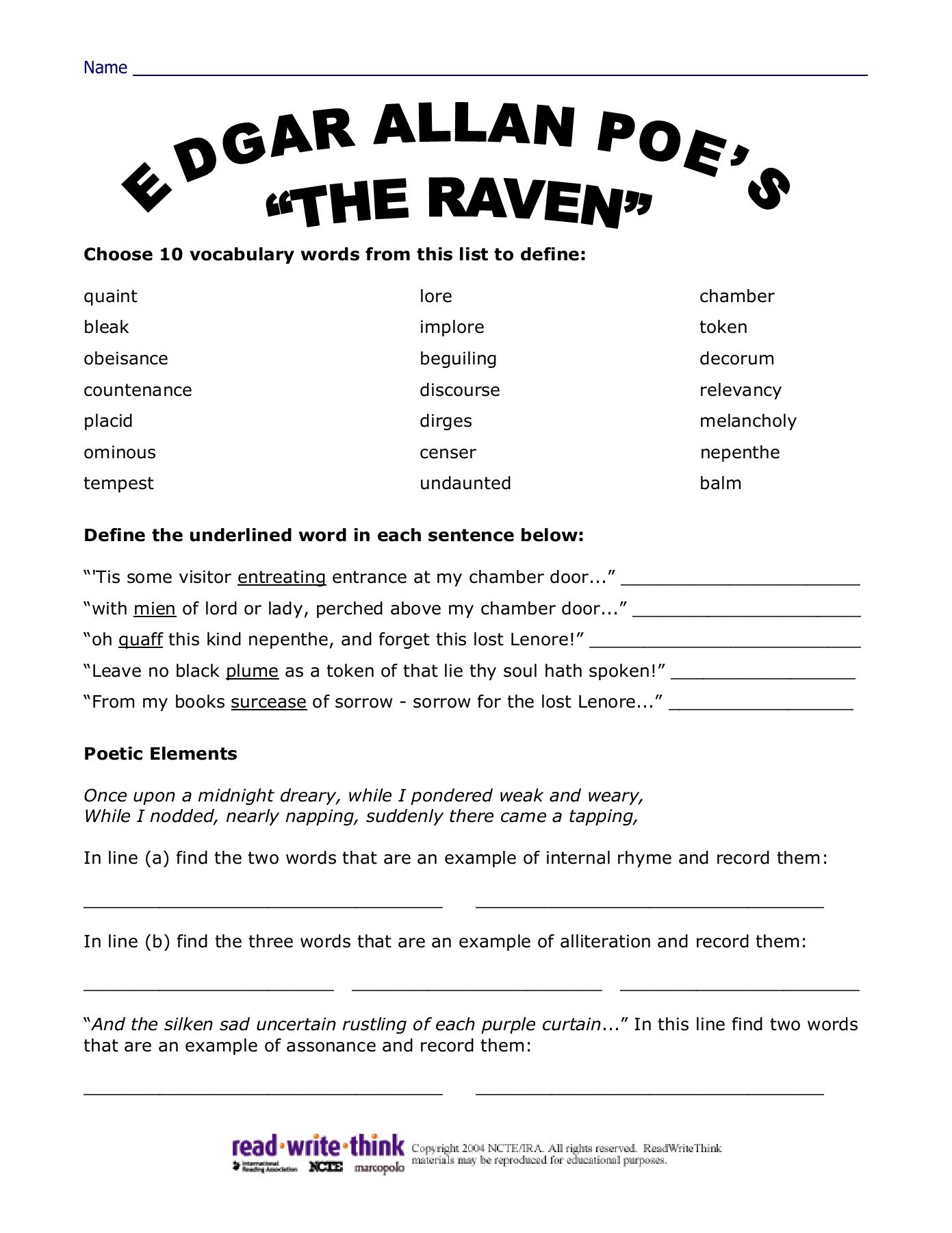 The Raven Discussion Worksheets