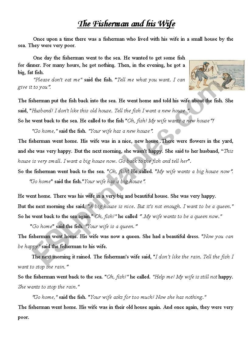 The Fisherman and his Wife ESL worksheet by osamanaeem