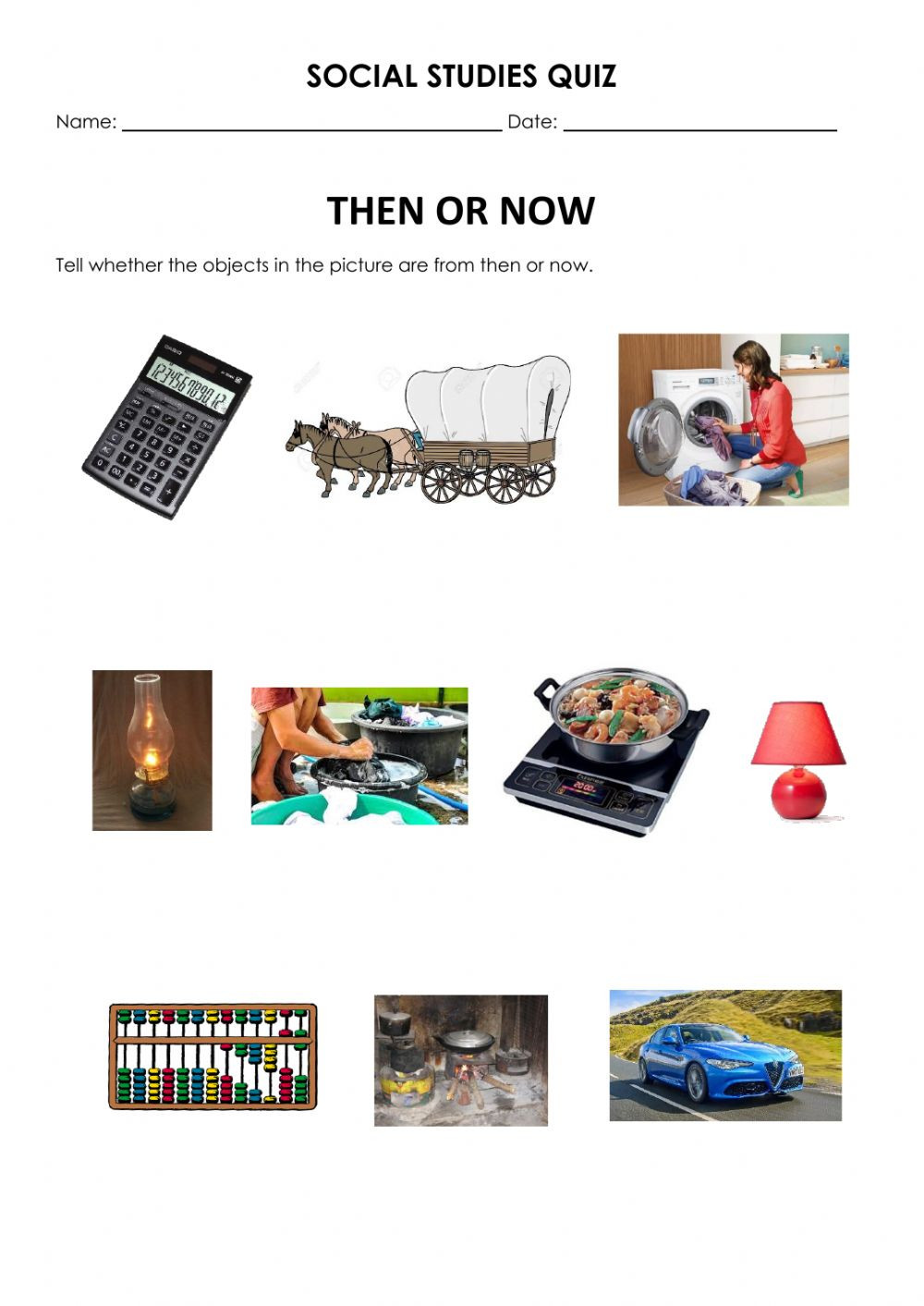 Then and now Worksheets