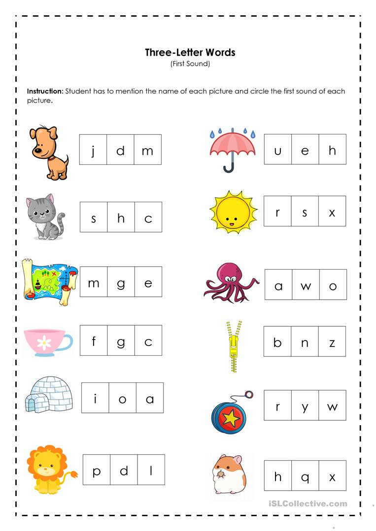 Three Letter Words First Sound English ESL Worksheets