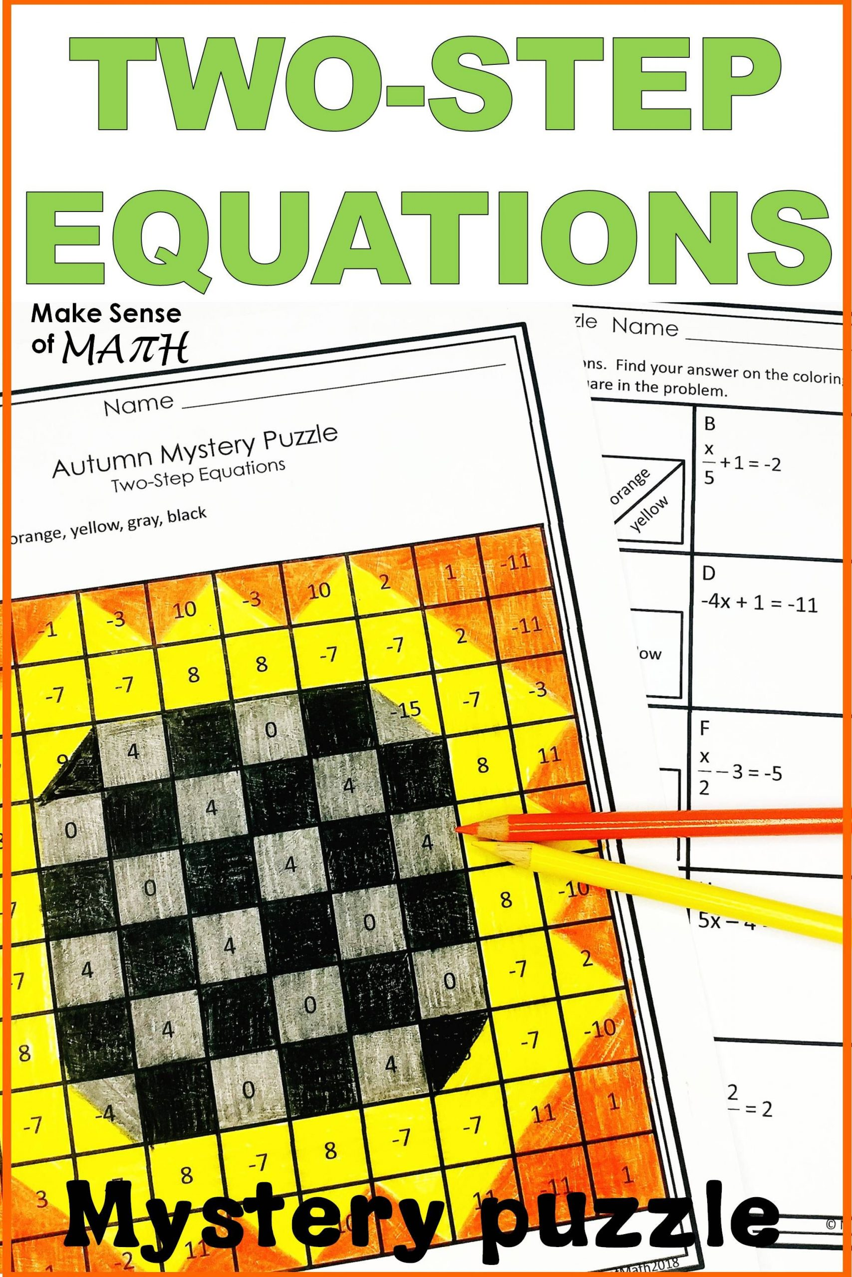 Two Step Equations Activity Mystery Puzzle