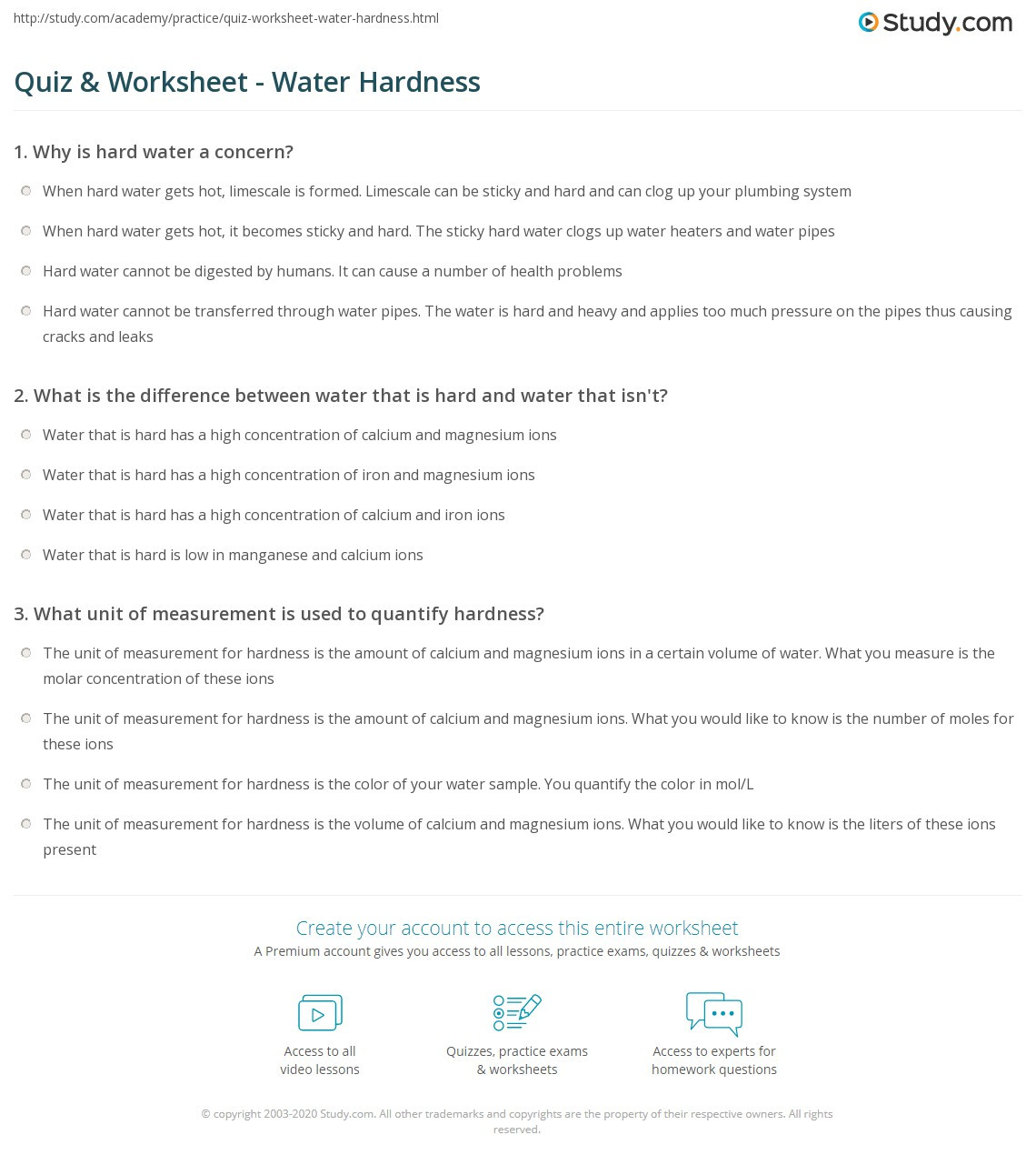 Water Quality Worksheet Middle School