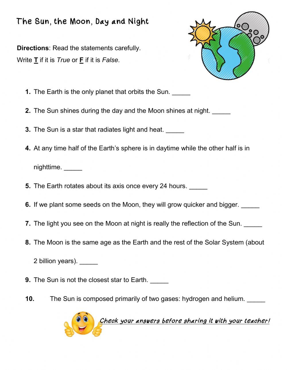 The Sun The Moon Day and Night worksheet