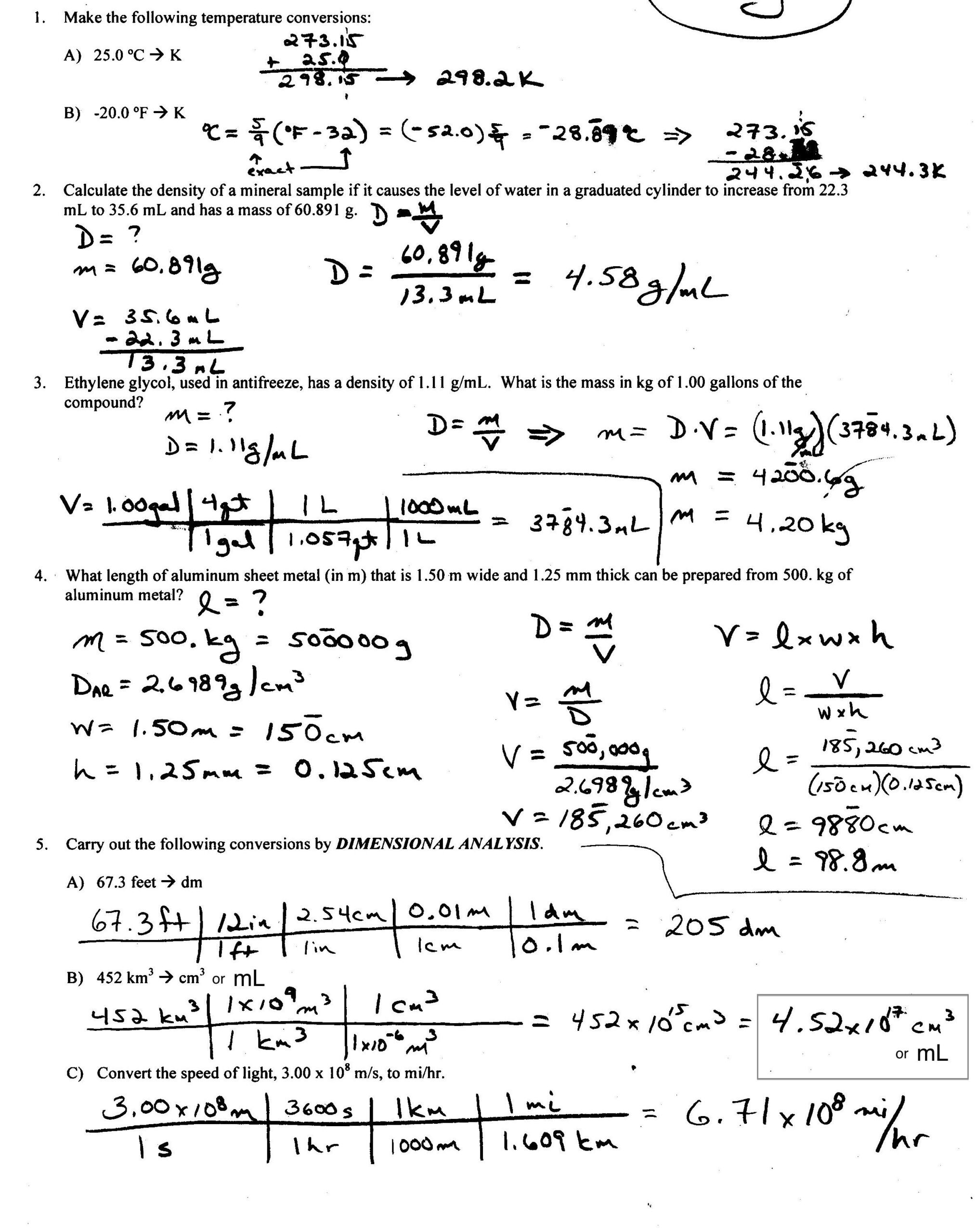 Density Worksheet With Answers Calculate Worksheets Answer