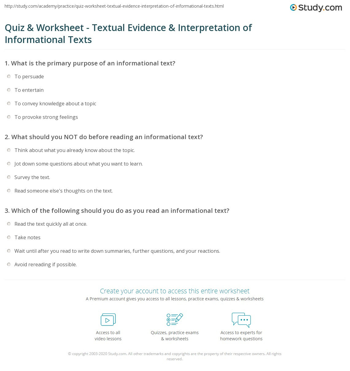 Finding Text Evidence Worksheet