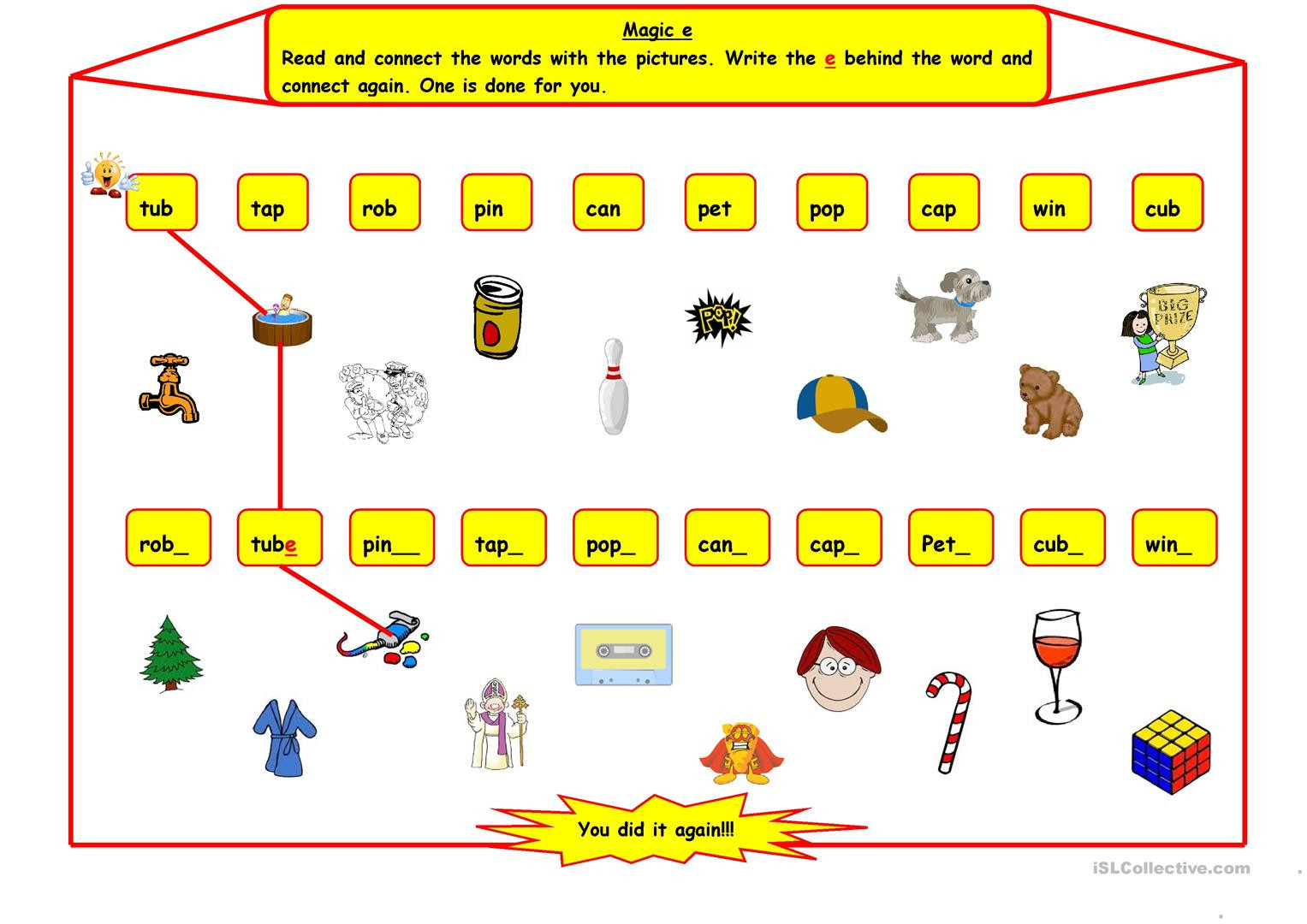 Magic e English ESL Worksheets for distance learning and