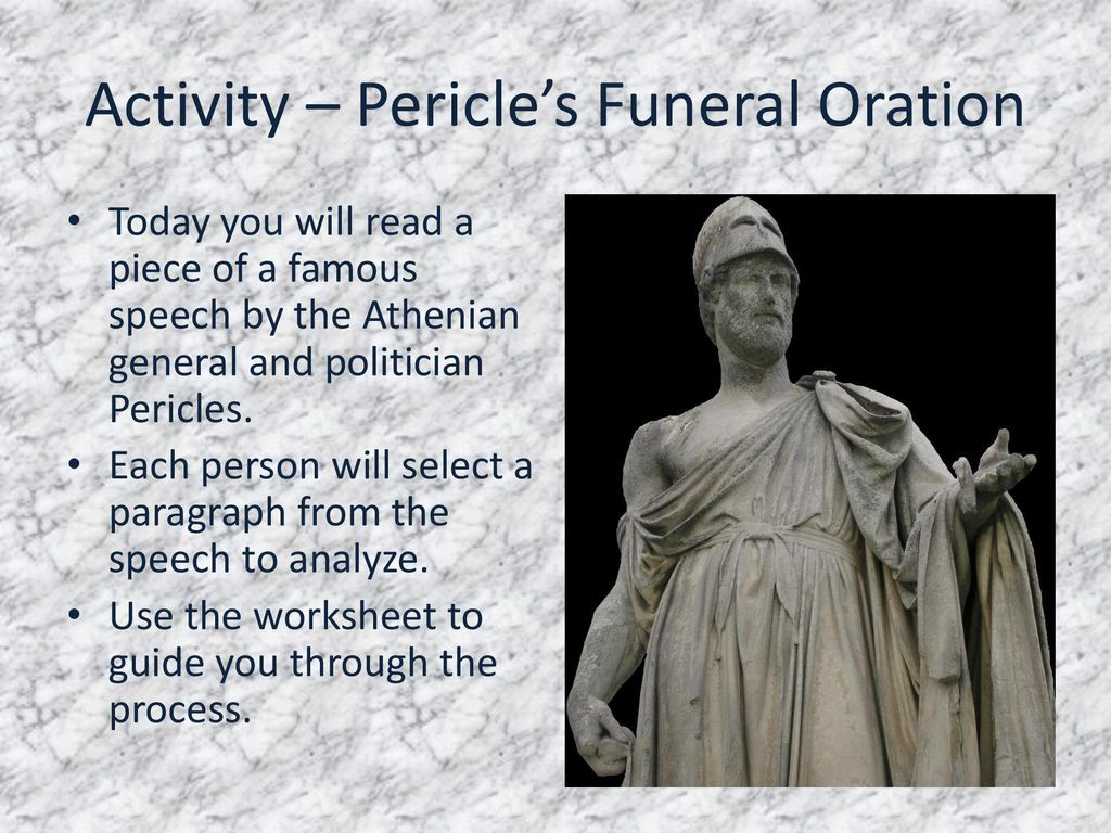 Pericles Funeral oration Worksheet